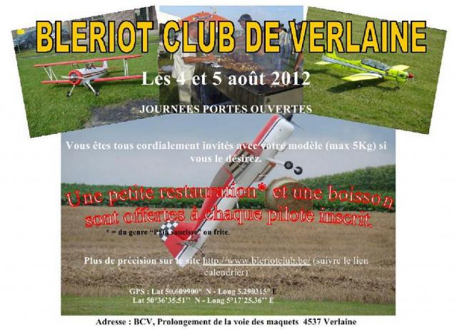 JOURNEES PORTES OUVERTES BLERIOT CLUB DE VERLAINE LE 4 ET  5 AOUT